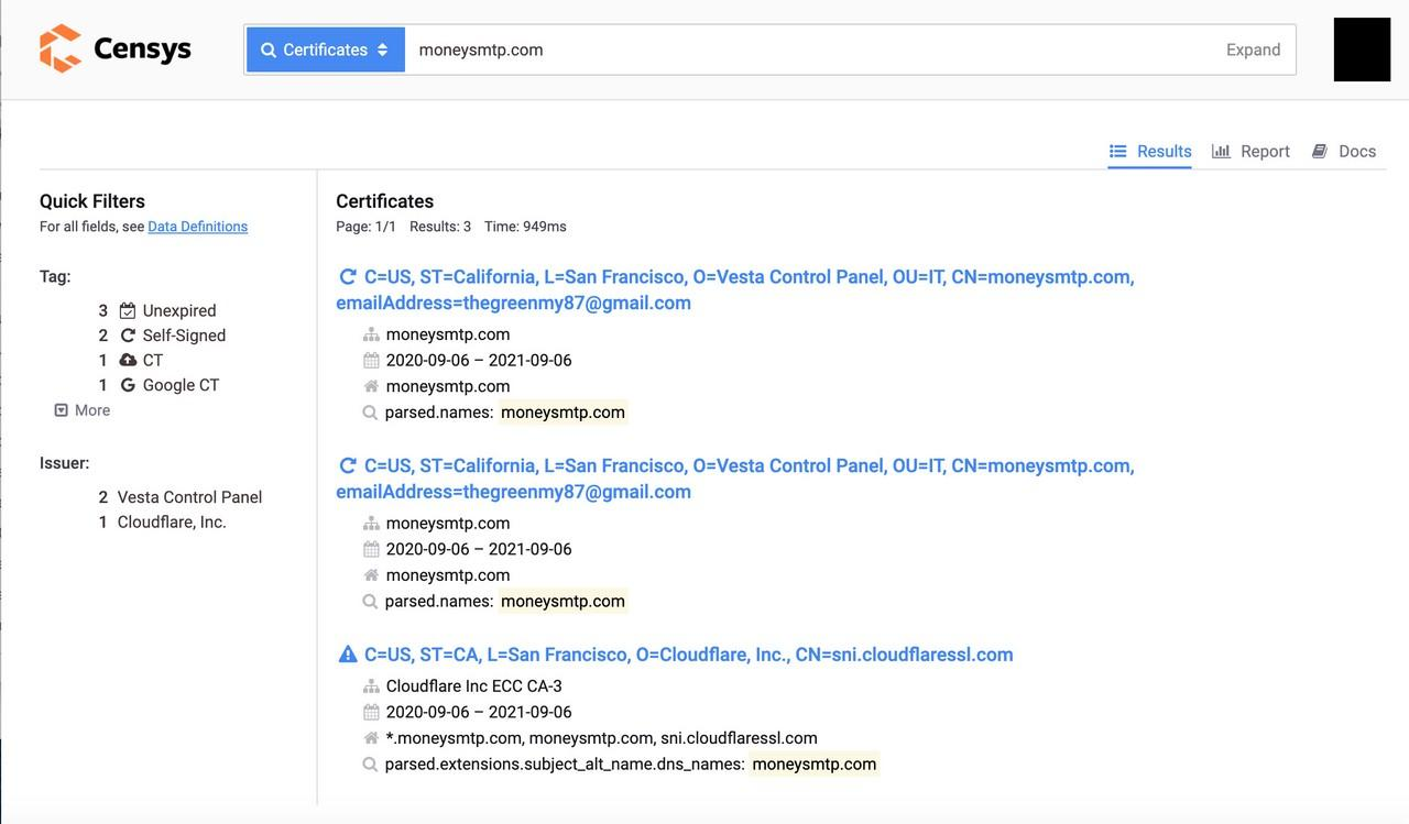 A search in the Certificate Transparency logs reveals an email address.