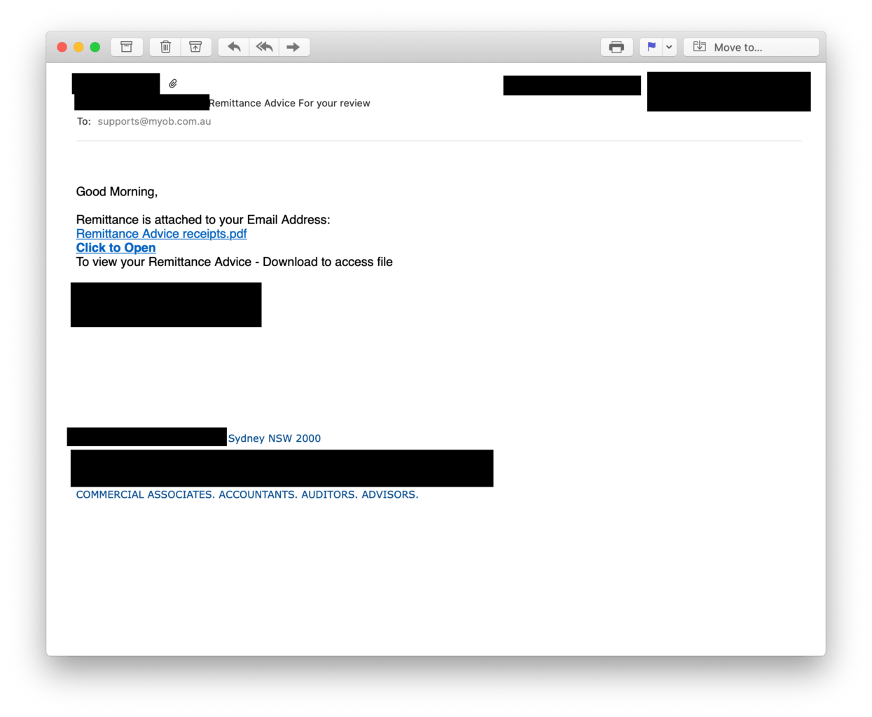 The initial phishing email leading to a fake Microsoft login page.