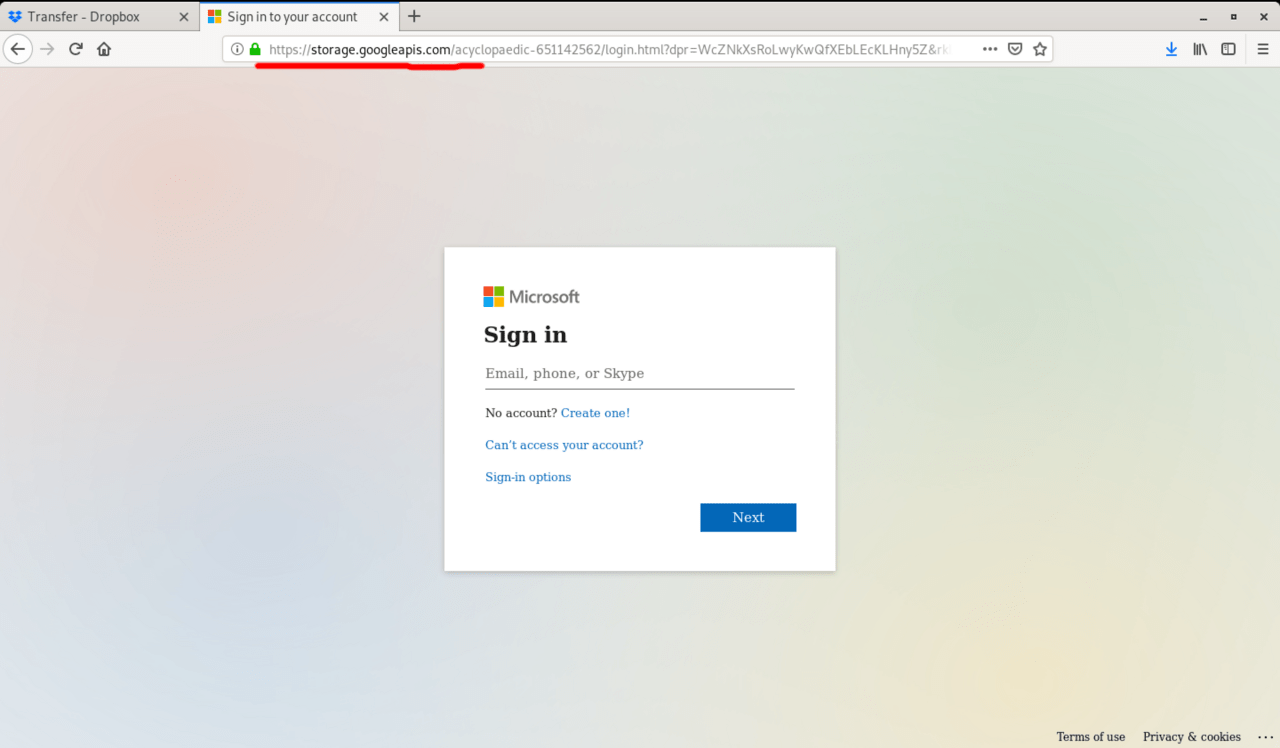 The page hosts a fake Microsoft login page.